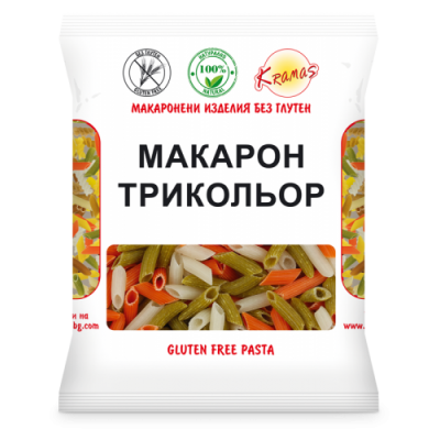 Макарони от ориз, грах и леща /трикольор/  250гр